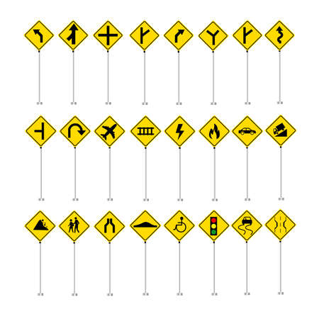 Traffic road sign collection vector set icons isolated on white background from intersection fire all standing yellow