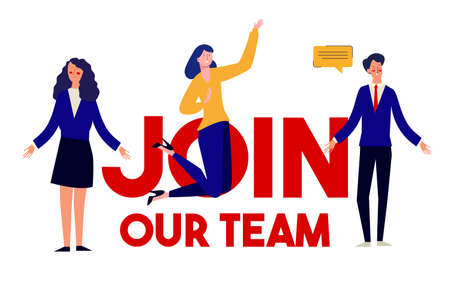 Join Our Team vacancy announcement job wanted illustration of career office worker. Vector flat illustration