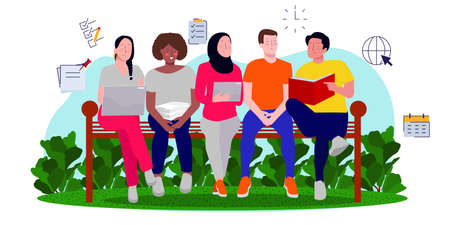 friends from various ethnic sit and talk in outdoor bench about employee recruitment. flat vector illustration concept of fresh graduate discussion Ilustrace