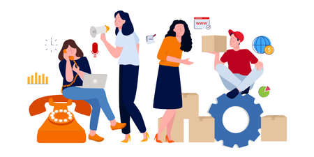 Customer service receives customer marketing calls promoting product delivery packages received by women. modern style cartoon flat illustration concept.