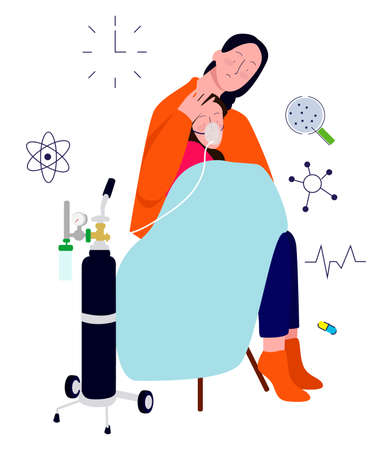 sick children use oxygen breathing apparatus in the mothers arms. modern flat cartoon style illustration.