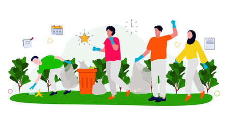 volunteer communities clean up trash in the park together. Participation and environment friendly activities