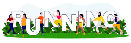 Young people running in park wearing sport clothes modern flat vector cartoon design of sport activities.