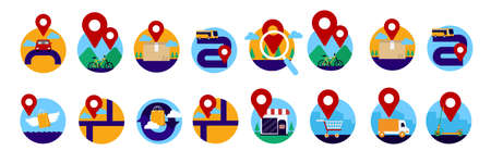 GPS global positioning system direction map icon set full color white isolated modern flat cartoon style.