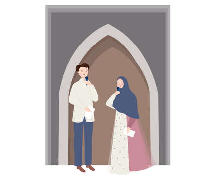 Man and woman host standing present Islam ceremony on stage holding microphone Ilustrace