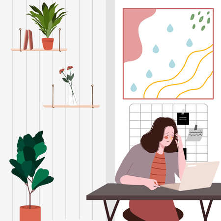 Women working in front laptop seem stressed by overwork pressure flat cartoon design vector illustration