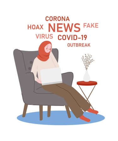oman look stressed reading lots news hoax fake about corona covid 19 modern flat cartoon style.