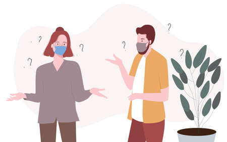 Couple are confused communication with body language wearing mask modern flat cartoon style