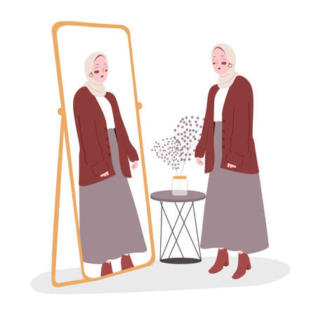 Woman standing look at her self in the mirror modern flat cartoon style.