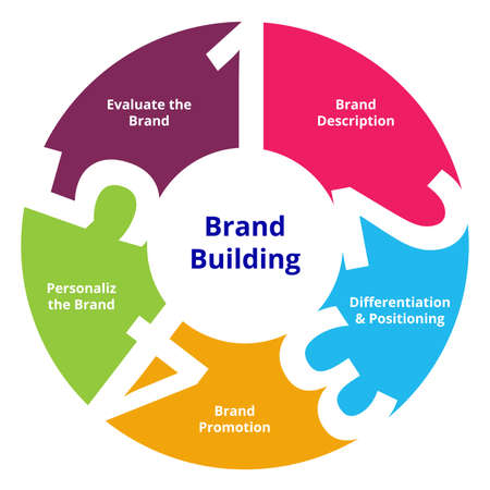Brand building steps brand description differentiation and positioning brand promotion personalize the brand evaluate the brand in diagram flat style vector design.