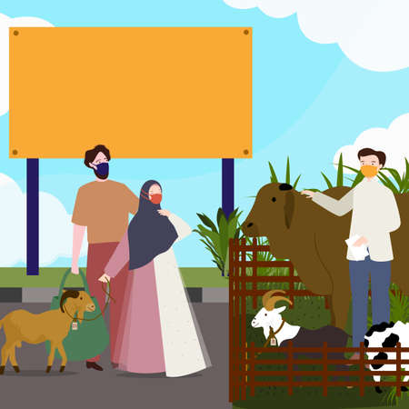Couple male and female wearing mask buy goat for sacrifice islamic holy day of Eid al-Adha with flat cartoon style.