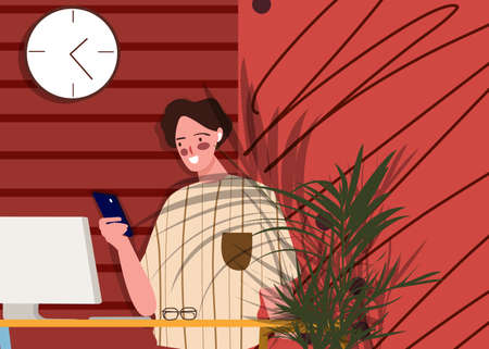 Smiling woman playing smartphone in front computer plant and wall clocks nearby with flat cartoon style . 일러스트