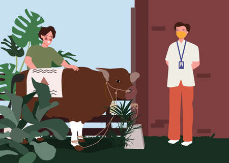 Man carrying cow to vet for medical examination with flat cartoon style.