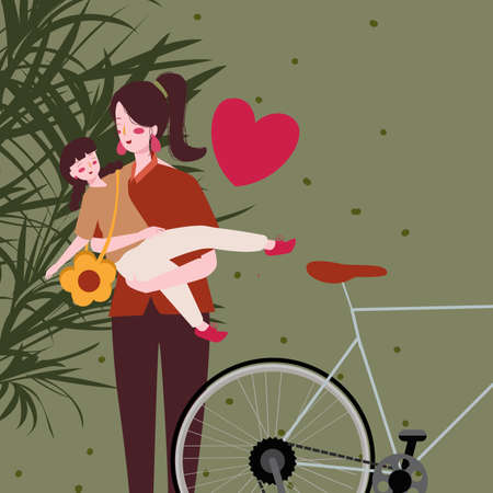 Mother carry child lovingly near bicycle with flat cartoon style . Ilustração