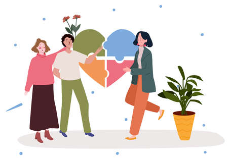 Mental health concept man walk with girlfriend waving hand other women background of pieces puzzle flower modern flat cartoon style.