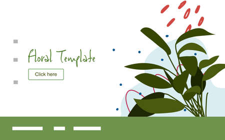 Floral clump of leaf plant campaign for web website home homepage template landing page banner with flat style. Illustration