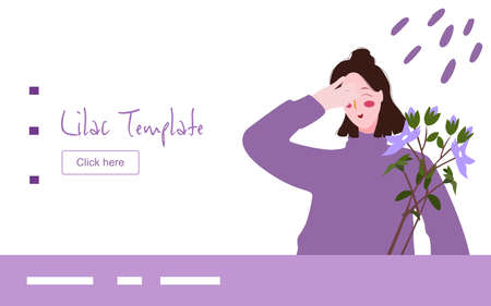 Lilac woman smile happy seeing lilac flower campaign for web website home homepage template landing page banner with flat style. Ilustracja