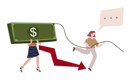 People bring big money tied rope background arrows down women run with bubble talk concept of corruption degrades economy flat cartoon style.
