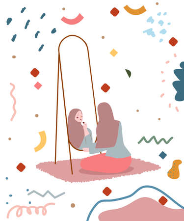Muslim woman sit on floor look in mirror apply makeup use lipstick cheerful atmosphere falling ribbon background with flat cartoon style.