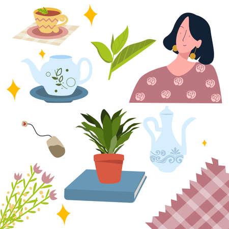 Tea culture icon leaf shoots teapot drink women with flat cartoon style Illusztráció