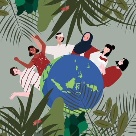 People from several ethnic religion races united Indonesian archipelago earth leaf floral background concept of harmony between religious communities with flat style