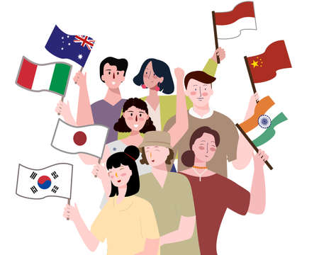 Collaboration between country concept people holding national flag white isolated background with flat cartoon style Ilustração