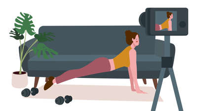 Women vlogger training work out fitness online front camera video with flat cartoon style