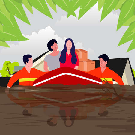 flooding disaster concept rescuer help women on boat through water with flat cartoon style