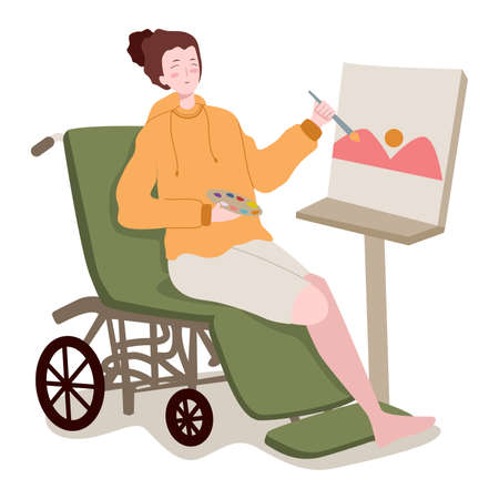 disabled women on wheel chair hold brush palette color painting mountain landscape on canvas with flat cartoon style