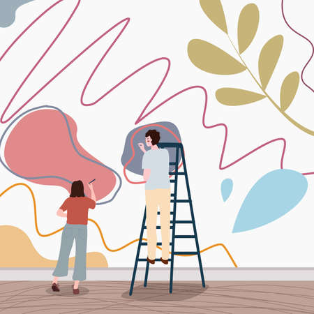 people women men painting scribble wall graffiti use ladder with flat style