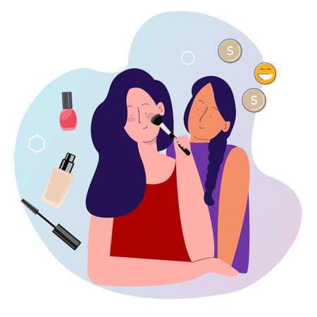 make up endorse concept girls make up blush on eyes shadow around coin money with cartoon flat style