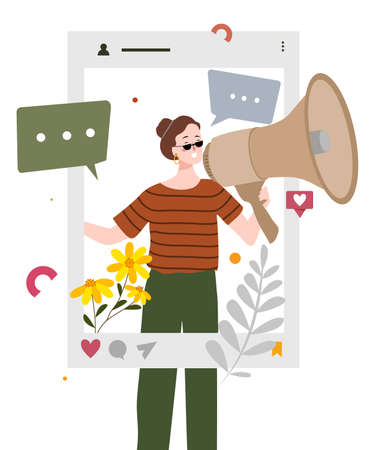 women talk use megaphone in smartphone screen concept of social media as public relation with flat cartoon style