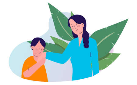 child greets mother by kissing her hand with cartoon flat style