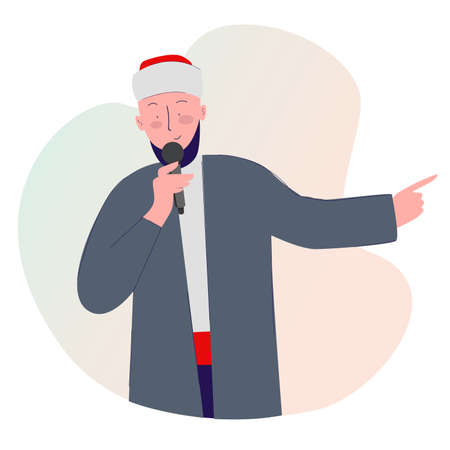 Islamic religious leader lecturing holding microphone with cartoon flat style vector design illustration