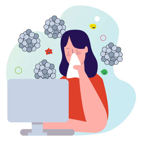 character woman with flu covering nose use tissue front desktop background virus with cartoon flat style