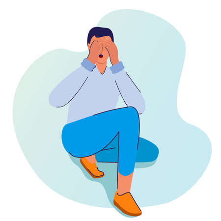 man hold her head dizziness with cartoon flat style 向量圖像