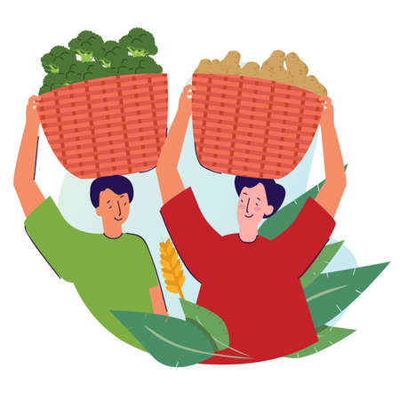 two farmer bring basket vegetable harvested on head with cartoon style vector design illustration