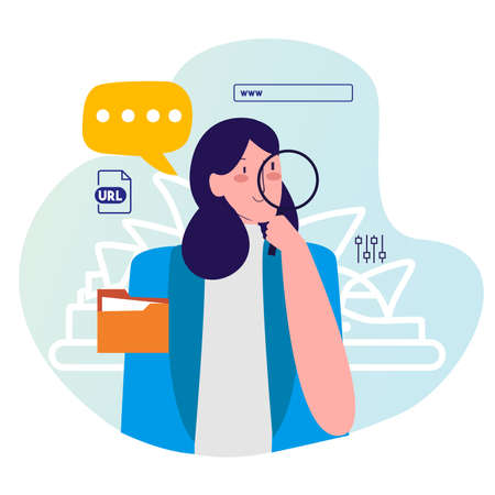 woman hold lupe searching information on internet with cartoon flat style 向量圖像