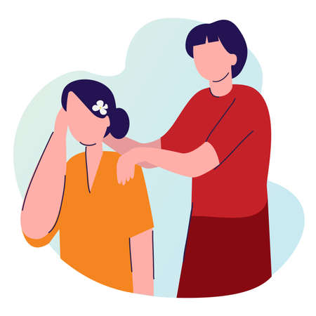 man hold massage woman shoulder with cartoon flat style