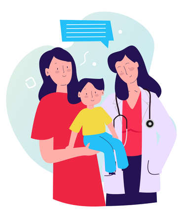 mother carry son near pediatrician with cartoon flat style