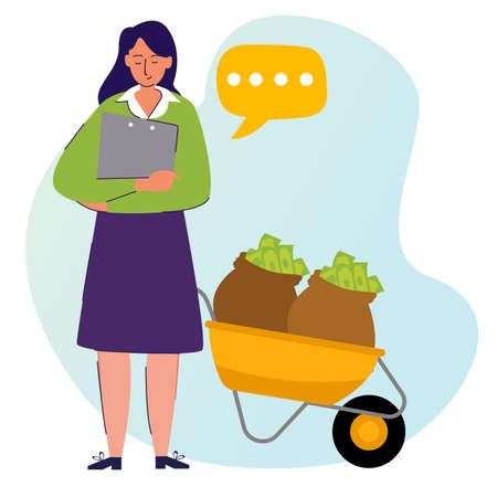 financial character woman standing beside money cart with cartoon flat style 向量圖像