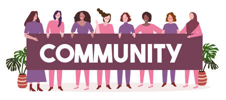 women day concept woman s diverse ethnic wearing purple and pink clothes hold community banner with flat cartoon style