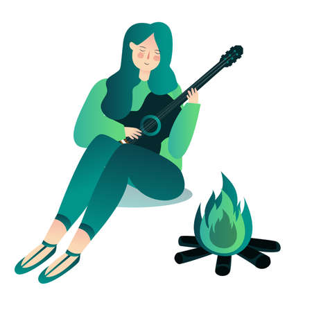 pretty girl playing guitar around bonfire with cartoon flat style 向量圖像