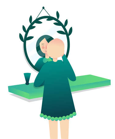 cancer concept bald woman looked at herself in mirror with hair on head with cartoon flat style