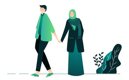islamic couple young man and woman walking on park white isolated background with cartoon flat style Ilustração