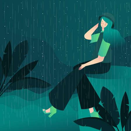 beautiful girl enjoy in rain night with cartoon flat style