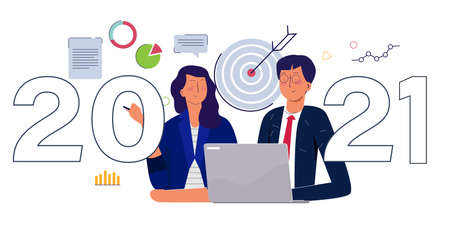 2021 business target concept men and women working together on laptop background of dart chart with cartoon flat style 向量圖像