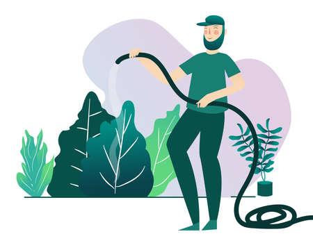man watering plant use hose with cartoon flat vector design illustration 向量圖像