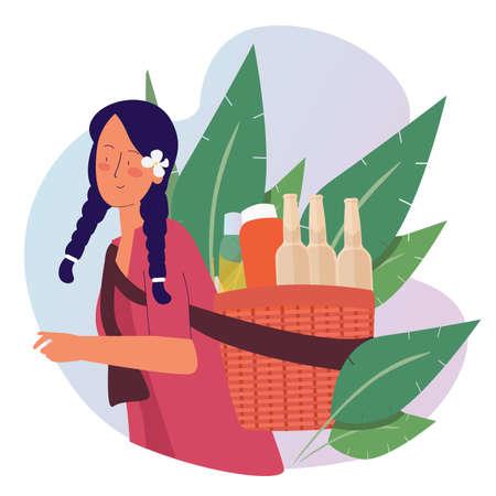 herbalist carrying basket bottles with cartoon flat style 向量圖像