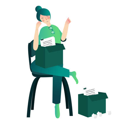 woman sit on chair holding box filled with paper cartoon flat style